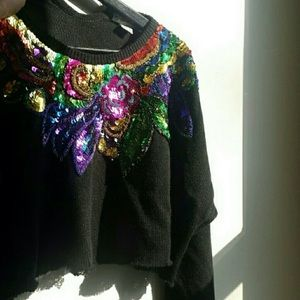   Vintage    Cropped Sequin Sweater